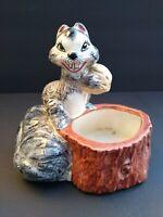 Vintage Ceramic Smiling Squirrel Planter