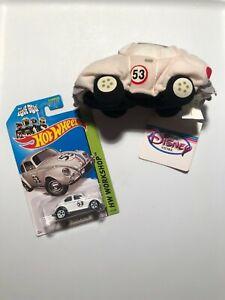 Hot Wheels HERBIE THE LOVE BUG VW Beetle 2014 plus Vintage DISNEY plush LOVE BUG