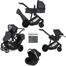 NEW HAUCK DUETT 3 DOUBLE TANDEM TWIN PUSHCHAIR BUGGY+CAR SEAT MELANGE CHARCOAL