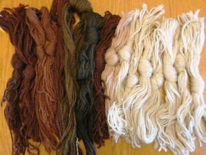 16 Pcs Paternayan? 3 Ply Cut Hanks Virgin Wool Yarn Beige & Browns Lot 2