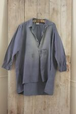 Antique French shirt peasant travaille bleus WORK / CHORE wear FADED AGED soft