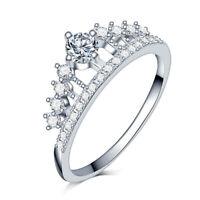 Damen Ring Krone Silber Zirkon Diadem Tiara Königin Mode Schmuck Gr 52 55 57 60