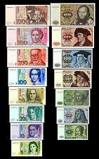 * 5,10,20,50,100,200,500,1000 DM Geldscheine 1980,1991 - 2 Sätze Reproduktion *