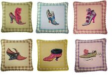"Set of 6 Handmade Wool Needlepoint Petit Point Shoe Pillows with Cording 14""x14"""