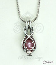 """Pick A Pearl Cage Silver Infinity Symbol Loop Holds Bead Gem Pearl 18"""" Necklace"""