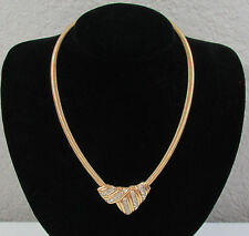 Vintage Trifari Gold Tone Rhinestone Chain Choker Fashion Jewelry Band Necklace