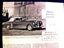 BENTLEY S CONTINENTAL D/H COUPE by PARK WARD -1956 -Road Test from The AUTOCAR