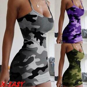 Women Sexy Bodycon Suspender Camo Mini Dress Ladies Casual Summer Beach Sundress