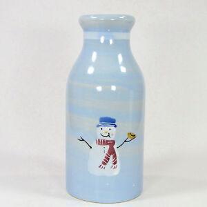 "Hartstone Pottery SNOW PEOPLE 1Qt Milk Bottle 9"" Jug Snowman Blue Christmas"