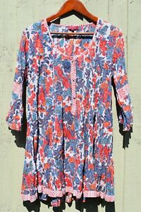Nila Rubia Blue Red Floral Flute Panel Shirt Crinkle Cotton 3/4 Sleeve CLEARANCE