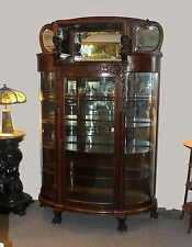 Great Oak China Curio Cabinet with carved Cherub holding hooded Canopy Original