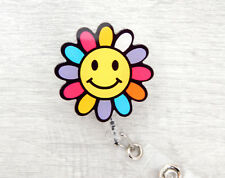Colourful Flower Card Pass Holder YoYo Retractable Badge Reel Nurse Teacher