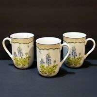 Set of 3 George Briard Victorian Gardens Texas Blue Bonnet Mugs