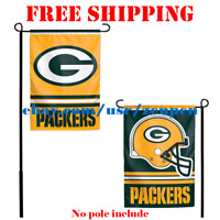 "Green Bay Packers Logo Garden Outdoor Flag Double Sides 12x18"" NFL 2019 Fan NEW"