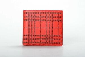 Burberry Men's Red Perforated Leather Bifold Wallet