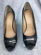 Saks Fifth Avenue  Womens Shoes Size 8.5 Black Leather Peep Toe Wedge Heels