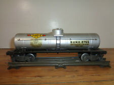 LIONEL O GAUGE # 2755 SUNOCO TANK CAR WITH AUTOMATIC COUPLERS