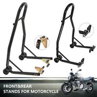 Heavy-Duty Motorcycle Bike Stand Front & Rear Motorbike Lift Paddock Carrier
