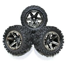 Traxxas Rustler 4x4 Front Rear Wheels Rims Tires Black Chrome Talon VXL XL5