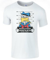 Disney Donald Duck Mug Shot Mens Funny T-Shirts - White T-Shirt