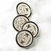 Chanel Buttons 4pc CC Silver & Crystals 20mm 4 Buttons unstamped AUTH!!!