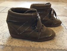Schutz Brown Suede Wedge High Top Lace Up Sneakers Size 9