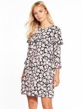V By Very Ruffle Frill Shift Dress Black Size UK 18 rrp £32 DH083 TT 07