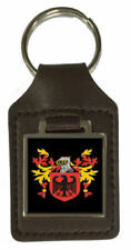 Bucknill Family Crest Surname Coat Of Arms Brown Leather Keyring Engraved