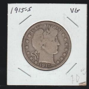1915-S Barber Half Dollar, VG