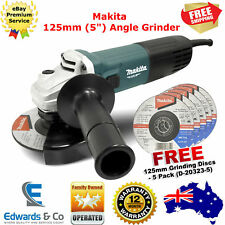 """125mm Angle Grinder Makita Electric Lightweight 5"""" Bench Tool 720W Free Discs X5"""