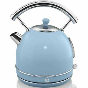 Swan 1.8 Litre Capacity Retro Dome Kettle, Rapid Boil/Automatic Switch Off, Blue