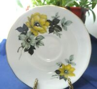 Queen Anne Vintage Porcelain Bone China Saucer Plate Yellow Floral Gold Trim