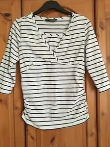Ladies Maternity Top From Mothercare Blooming Marvellous. White Stripped. Size M