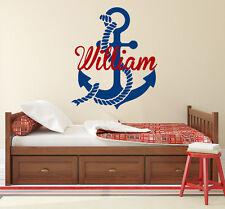 Boy Name Wall Decal Vinyl Sticker Decals Nautical Anchor Decor Nursery Art X97