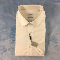 Calvin Klein Regular Fit Men's Dress Shirt, White, Size 17 32/33