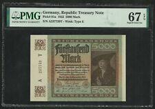 Germany : 5000 Mark 1922 ; PMG : Superb Gem UNC 67 ; EPQ