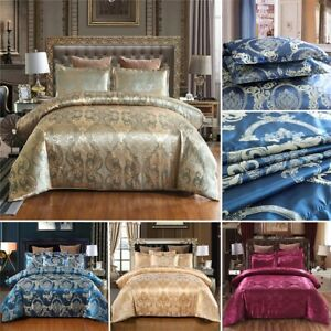 Satin Jacquard Luxury Duvet Quilt Cover Bedding Set Solid Color Twin Queen King