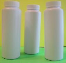 Set of 3 White Powder Style Plastic Bottles with Twist Top Sifter Caps, 8 oz