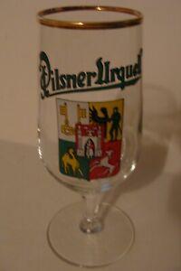 German beer glass Pilsner Urquell Czech footed pilsner style gold rim 0,2 ltr
