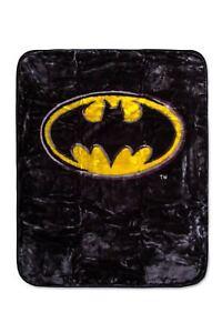 "DC Comics Superman Shield Logo and Batman ""Emblem"" Luxury Plush Blanket 43""x51"""