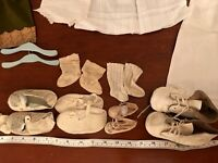 ANTIQUE LOT DOLLS CLOTHES SOCKS SHOES ETC