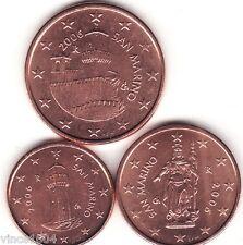 lot 1,2,5 cts cent centimes euro Saint-marin 2006 , qualité UNC !!