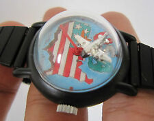 Rare Men Mystery Winding Watch Airplane as Second Hand Moving Round and Round