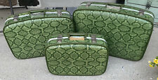 Set of 3 Vintage Green Hard Shell snake Travel Suitcases 1970's retro Luggage