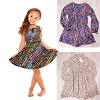 Girls Kids Children Summer Holiday Cotton Designer Skater Dress Casual Sundress