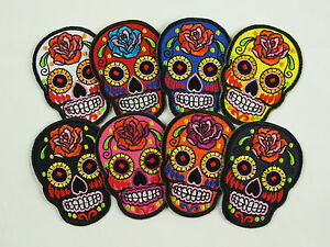 ROSE FLOWER SKULL Small Embroidered Iron On sew On Patch