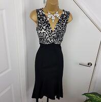 Julien Macdonald Dress Stretch Sleeveless Wiggle V Neck Panther Print Black UK 8
