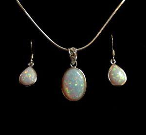 Sterling Silver Fire Opal Oval Trellis Necklace & Matching peardrop Earrings set