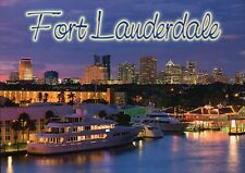 Twilight in Fort Lauderdale Florida, Skyline Boat Yachts, Lights FL --- Postcard