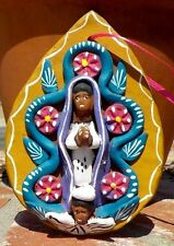 VIRGIN OF GUADALUPE CLAY PLAQUE WALL HANGING RELIGIOUS MEXICO W/ FREE SHIPPING